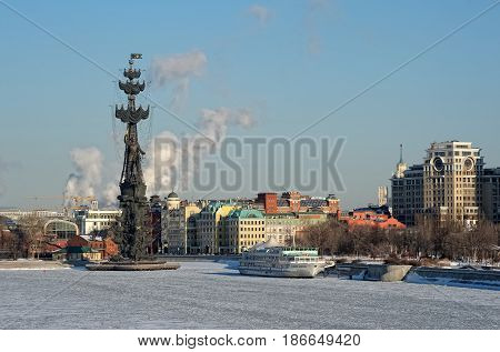 MOSCOW, RUSSIA - FEBRUARY 6, 2017: View of the monument to Peter the Great in commemoration of the 300th anniversary of the Russian Navy sculptor Zurab Tsereteli monument height 98 meters