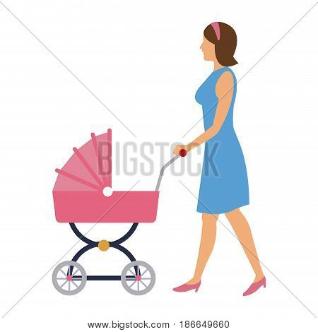 mother pushing pink baby carriage vector illustration