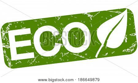 grunge stamp with background colored green and text ECO