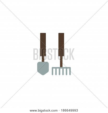 Flat Garden Instruments Element. Vector Illustration Of Flat Tools Isolated On Clean Background. Can Be Used As Garden, Tools And Instruments Symbols.