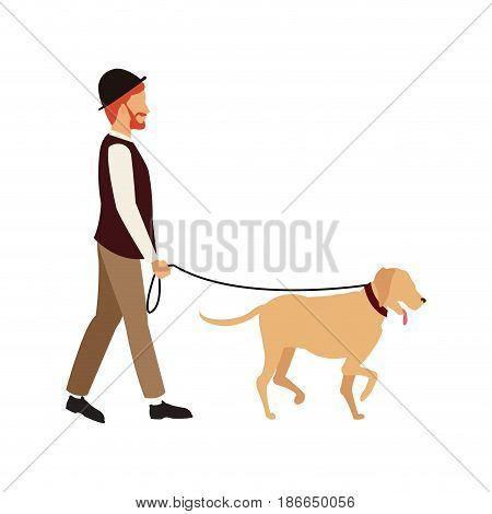 bearded gentleman man walking with dog character. vector illustration