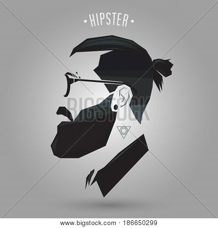 Hipster men hairstyle with tattoo on gray background