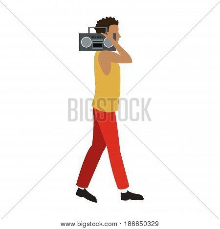 guy walking listen music stereo radio vector illustration