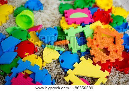 Baby toys on floor. Child development concept