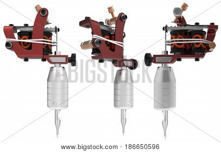 Red metallic tattoo machine with orange ornament set. 3D perspective illustration