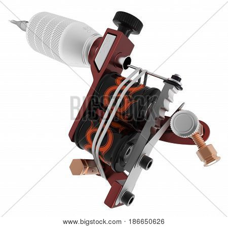 Metallic red silver tattoo machine with orange ornamental coils closeup. 3D illustration