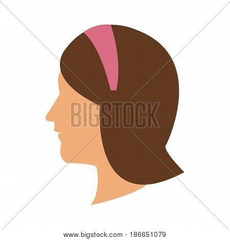 profile head woman with diadem hair vector illustration