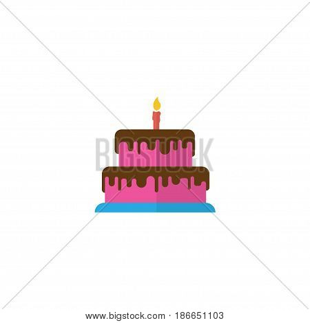 Flat Cake Element. Vector Illustration Of Flat Pastry Isolated On Clean Background. Can Be Used As Cake, Pastry And Candle Symbols.