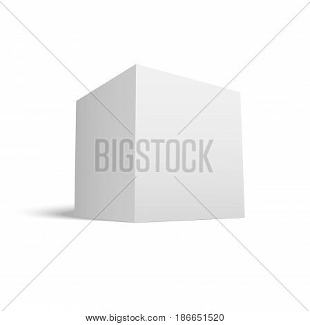 White Paper Cube with Shadow. Realistic vector Icon for Your Design
