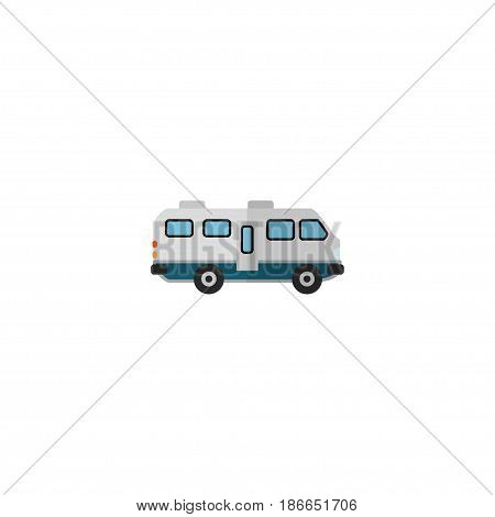 Flat Camper Van Element. Vector Illustration Of Flat Caravan Isolated On Clean Background. Can Be Used As Caravan, Camper And Van Symbols.