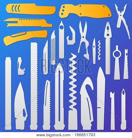 Set of multifunction knife elements, Isolated flat vector illustration