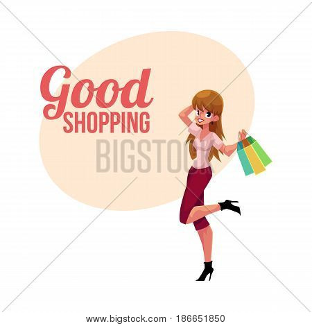 Happy shopping poster, banner template with fashionable girl, woman holding bags, holiday sale concept, cartoon vector illustration. Poster, banner with happy girl, woman holding shopping bags