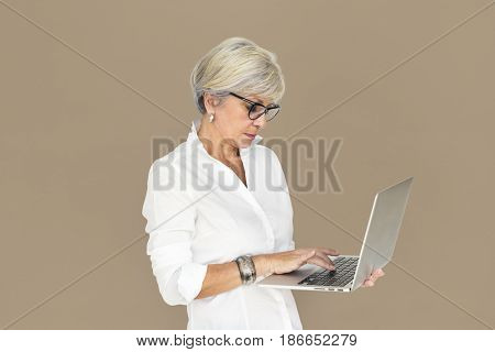 Caucasian Business Woman Laptop Unhappy