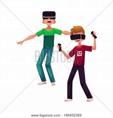 Two boys wearing virtual reality headsets, simulators, cartoon vector illustration isolated on white background. Couple of teenagers, boys playing with virtual reality simulators, headsets together