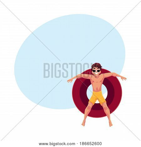Young man in sunglasses resting on floating inflatable ring in star position, top view cartoon vector illustration with space for text. Young man floating on inflatable ring, enjoying summer