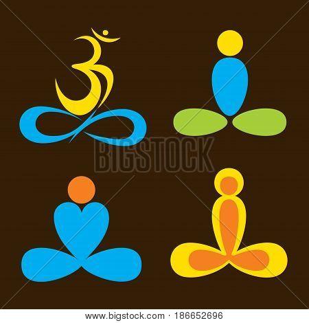 creative abstract yoga pose icon design vector