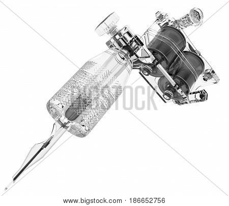 Plastic grey tattoo machine with needle and gloss coils. 3D illustration
