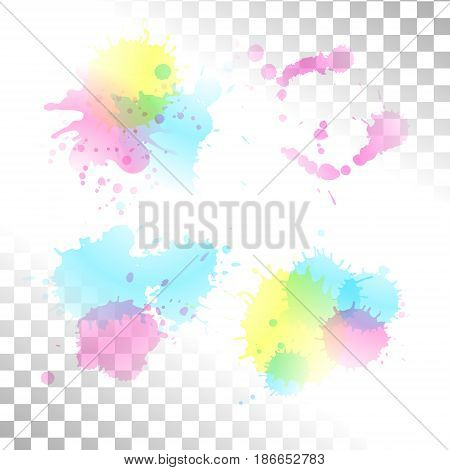 Vector watercolor transparent stain. Set of ink blots. Blue purple and yellow paint spots.