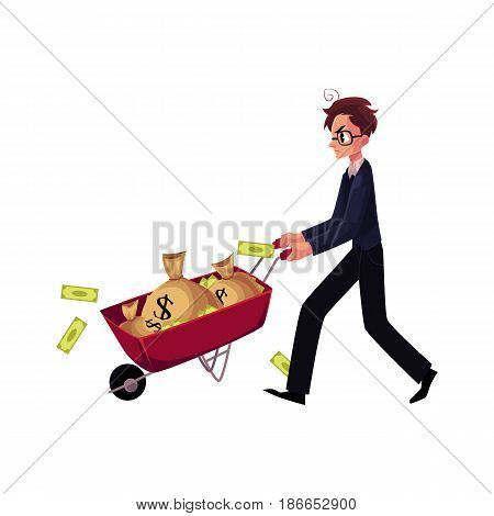 Young man, businessman in glasses, stressed and worried, pushes wheelbarrow of money bags, cartoon vector illustration isolated on white background. Nervous businessman pushing wheelbarrow with money