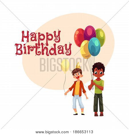 Happy birthday vector greeting card, poster, banner design with Black and Caucasian little boys with balloons, birthday celebration party. Two boys, kids at birthday party, holding balloons