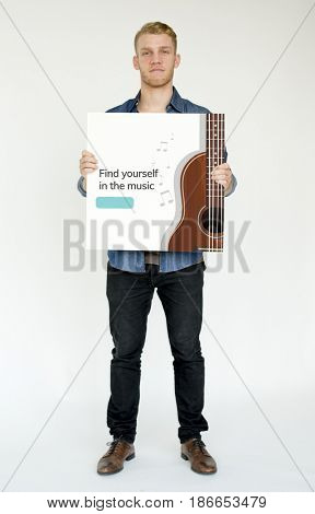 Music concept card holding by people