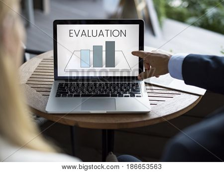 Business people with analysis business graph illustration