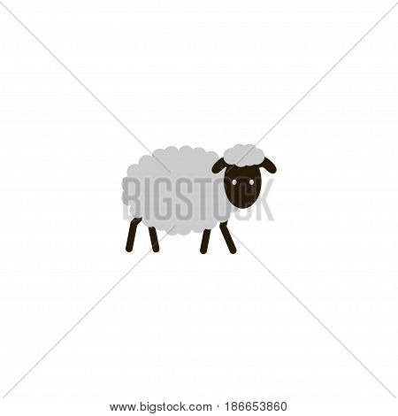 Flat Sheep Element. Vector Illustration Of Flat Mutton Isolated On Clean Background. Can Be Used As Mutton, Sheep And Merinos Symbols.
