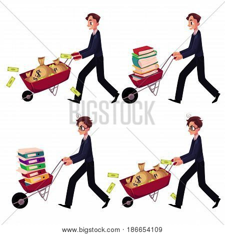 Set of happy and worried businessmen pushing wheelbarrows full of money bags, book, document folders, cartoon vector illustration isolated on white background. Businessman pushing wheelbarrow set
