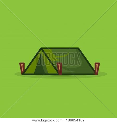 Tourist tent isolated for camping vector icon. Illustration flattent for expedition on green background