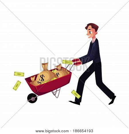 Young man, businessman pushing wheelbarrow full of money bags, losing banknotes, cartoon vector illustration isolated on white background. Businessman pushing wheelbarrow, wheel barrow with money bags