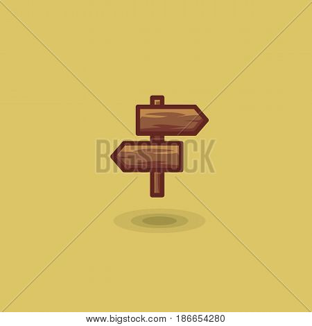 Road signposters on wooden trip two plaques isolated vector icon. Illustration two wooden tourist arrow road signs on fork