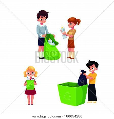 Children, kids collect garbage for recycling, segregating trash, cartoon vector illustration isolated on white background. Garbage recycling for kids, trash, rubbish segregation, waste sorting