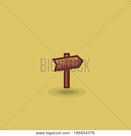 One way sign in travel wooden plaque isolated vector icon. Illustration of one wooden tourist arrow pointing road