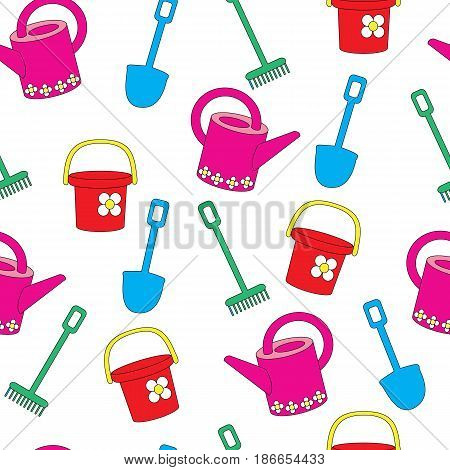 Seamless pattern with garden stock on a white background. A vector picture with a rake, a shovel, a bucket and a watering can