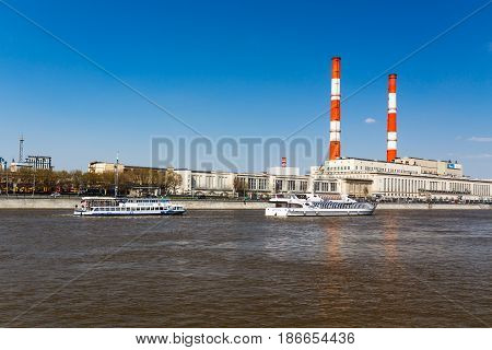 Moscow, Russia - April 30, 2017: View Of The Berezhkovskaya Embankment From The Side Of Novodevichya