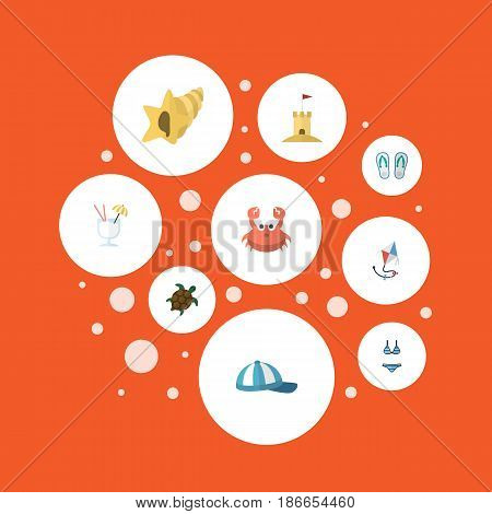 Flat Cancer, Drink, Slippers And Other Vector Elements. Set Of Beach Flat Symbols Also Includes Sink, Slippers, Beach Objects.