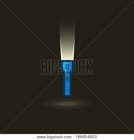 Vector icon blue hand lantern with beam light in dark. Illustration pocket lamp for lighting on black background