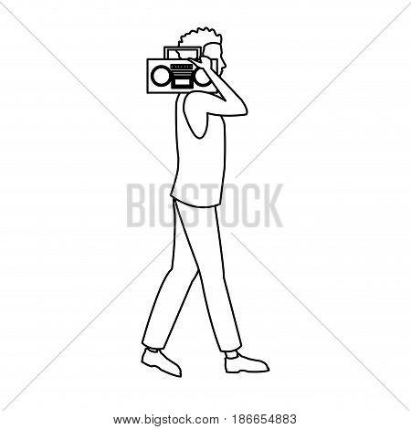 guy walking listen music stereo radio outline vector illustration