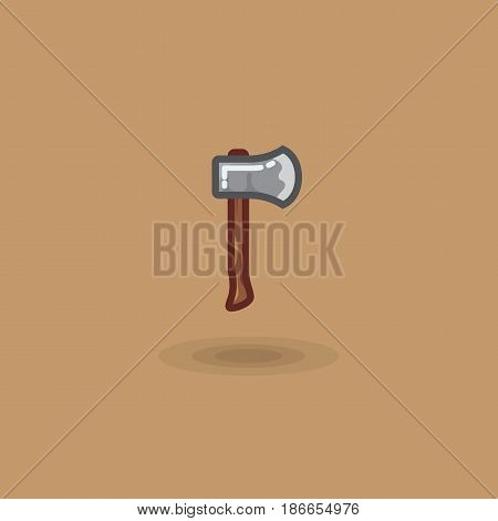 Vector icon ax for cutting wood, chopping an ax. Illustration woodcutters joinery tool, lumberjack, camping ax, woodworking