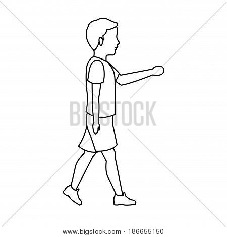 boy young walking with tshirt and short outline vector illustration