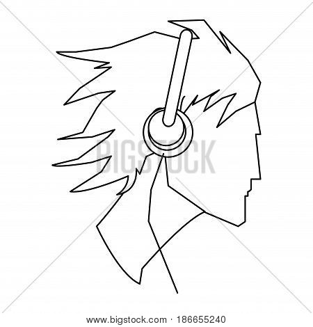 avatar head guy young headphones outline vector illustration