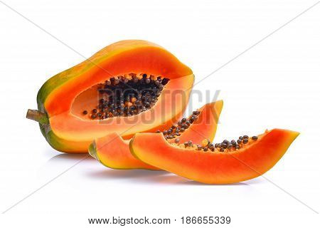 sliced of fresh papaya isolated on white background