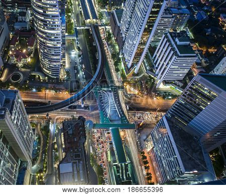Central Business district CBD of Bangkok on Sathorn road shooting on twilight sunsets