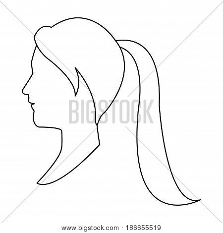 profile head woman with ponytail outline vector illustration