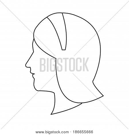 profile head woman with diadem hair outline vector illustration