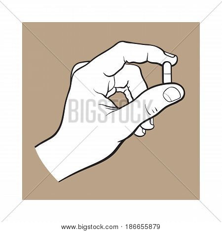 Hand holding two piece gelatin capsule by two fingers, side view black and white sketch style vector illustration on brown background. Drawing of hand holding pill, capsule, medicine by two fingers