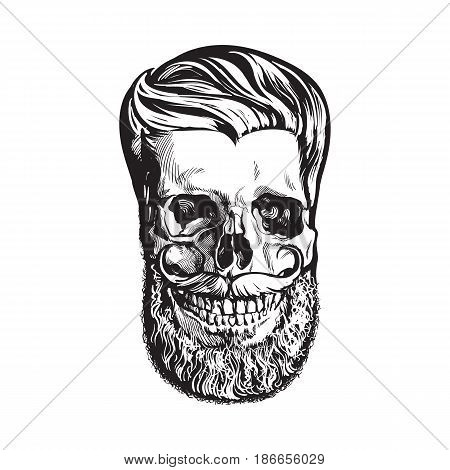 Hand drawn human skull with hipster hairdo, beard and moustache, black and white sketch style vector illustration isolated on white background. Hand drawing of human skull with hipster hair