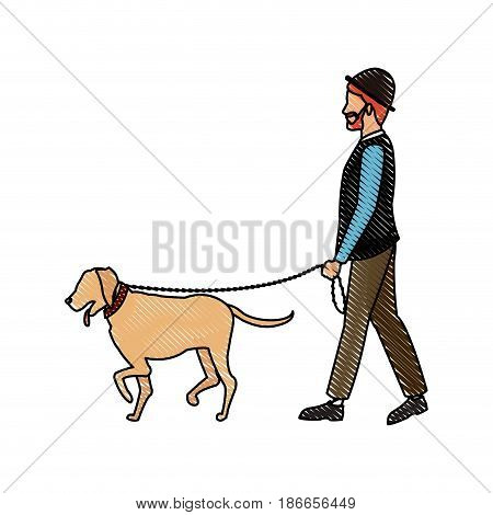 drawing bearded gentleman man walking with dog vector illustration