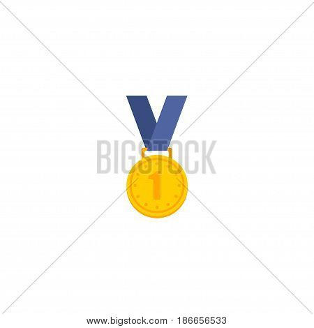 Flat Winner Medal Element. Vector Illustration Of Flat Reward Isolated On Clean Background. Can Be Used As Reward, Winner And Medal Symbols.