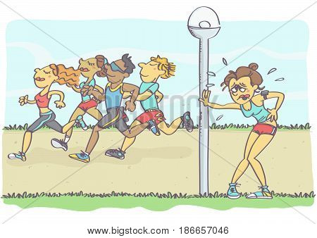 Funny vector cartoon with woman gasping for air, in the background group of people jogging